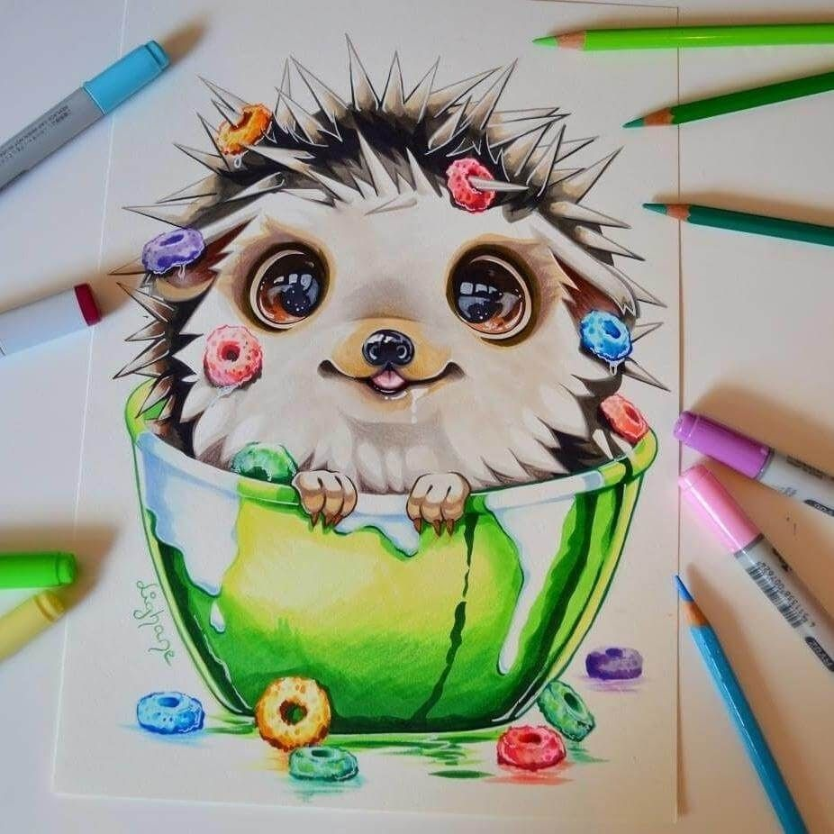 Baby Hedgehog Cute Colored Fantasy Animal Drawings By Lisa Saukel Dibujos Bonitos Cosas Lindas Para Dibujar Dibujos De Animales