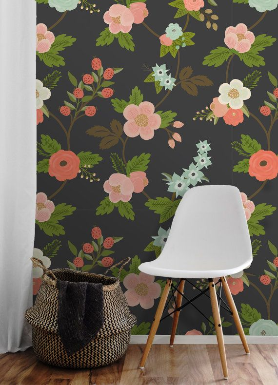 Flora Easy To Apply Removable Peel N Stick Wallpaper Etsy Peel N Stick Wallpaper Removable Wallpaper Wallcovering Pattern