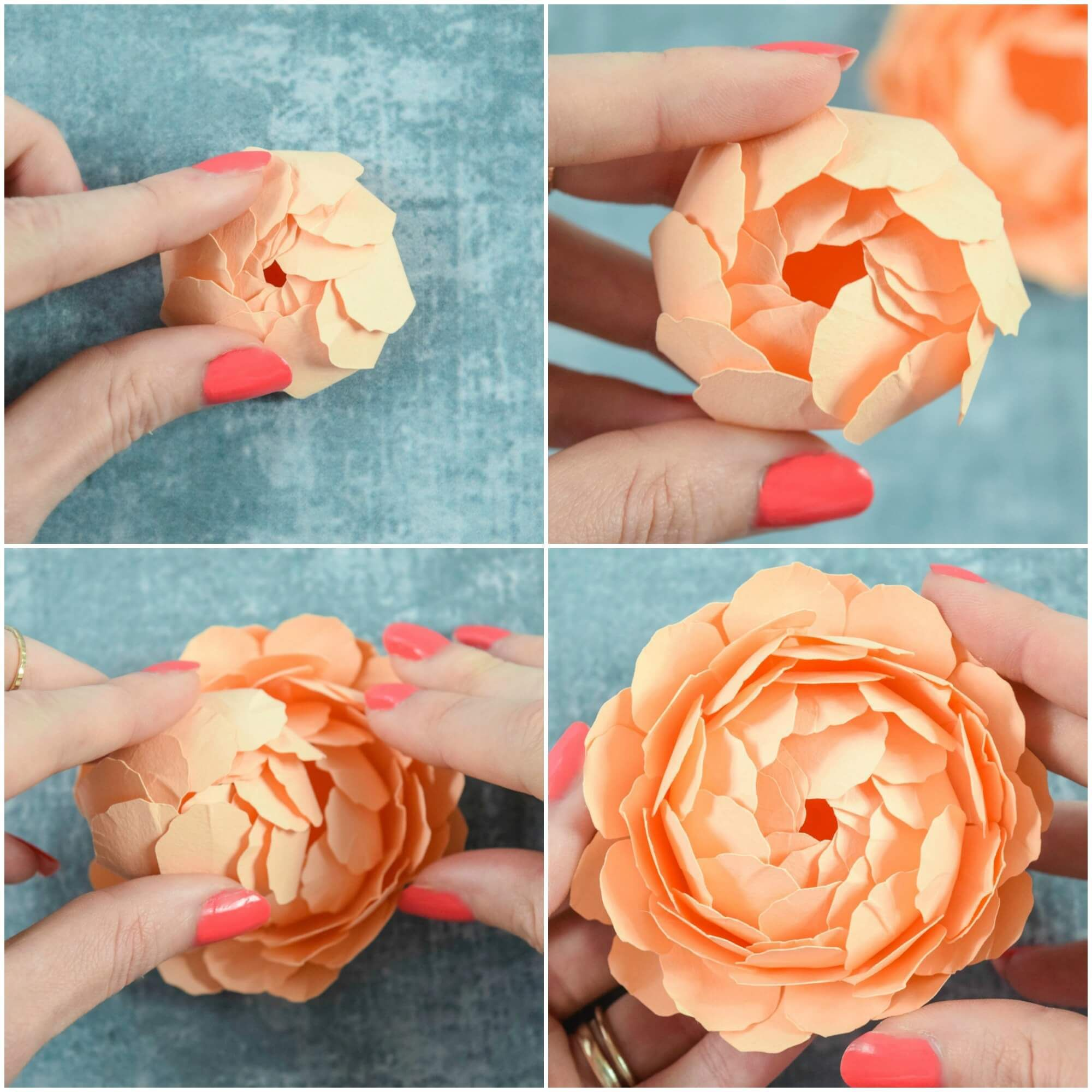 Peony Paper Flower Template Step By Step Easy Paper Flower Tutorial