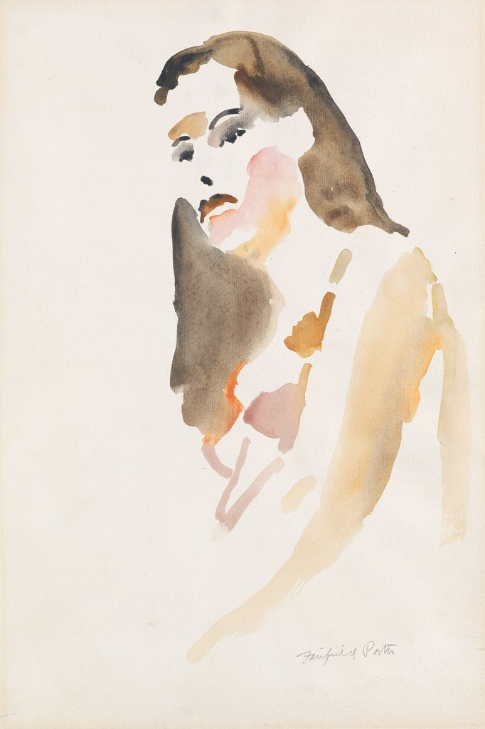 """Portrait of a Girl,"" Fairfield Porter, watercolor, 18 x 12"", private collection."