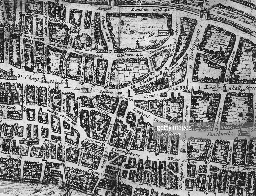 London 1600 Map.A Map Of The City Of London Showing Cheapside Threadneedle Street