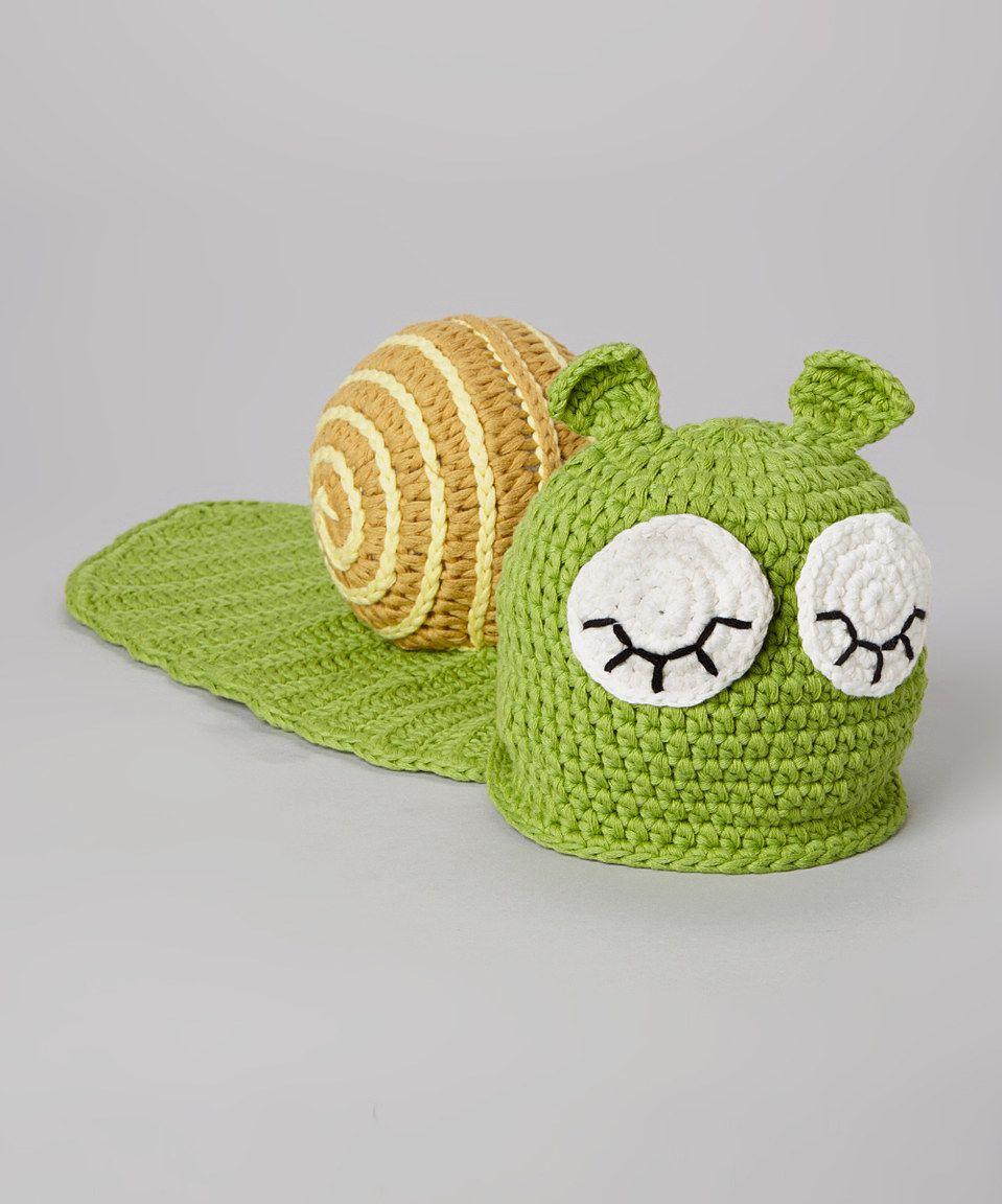This chéri by Bébé Oh La La Green Snail Crocheted Beanie by chéri by Bébé Oh La La is perfect! #zulilyfinds