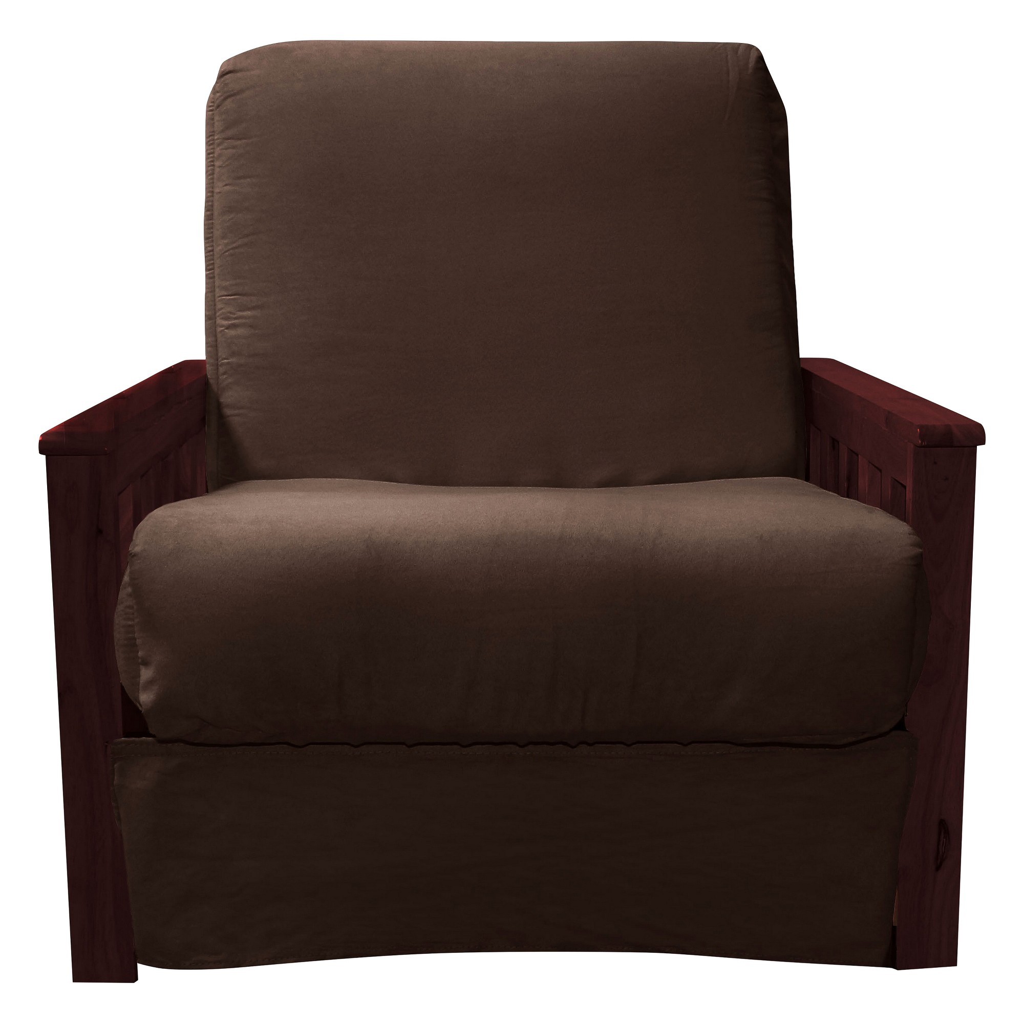 Mission Perfect Convertible Futon Sofa Sleeper   Mahogany Finish Wood Arms    Chocolate Brown Upholstery