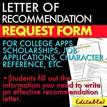 Reference Letter/Letter of Recommendation Request Form Editable - college recommendation letters