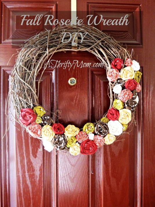 Fall Rosette Wreath~DIY Fall rosette wreath,