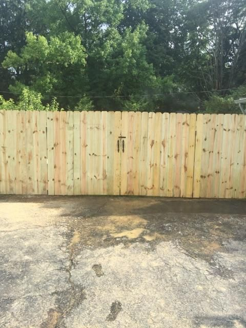 Standard 6 Ft Tall Solid Dog Ear Double Gate This Gate Measures 8 Ft In Total And Will Match The Rest Of Your Fenc Wood Fence Gates Fence Styles Dog Ear Fence