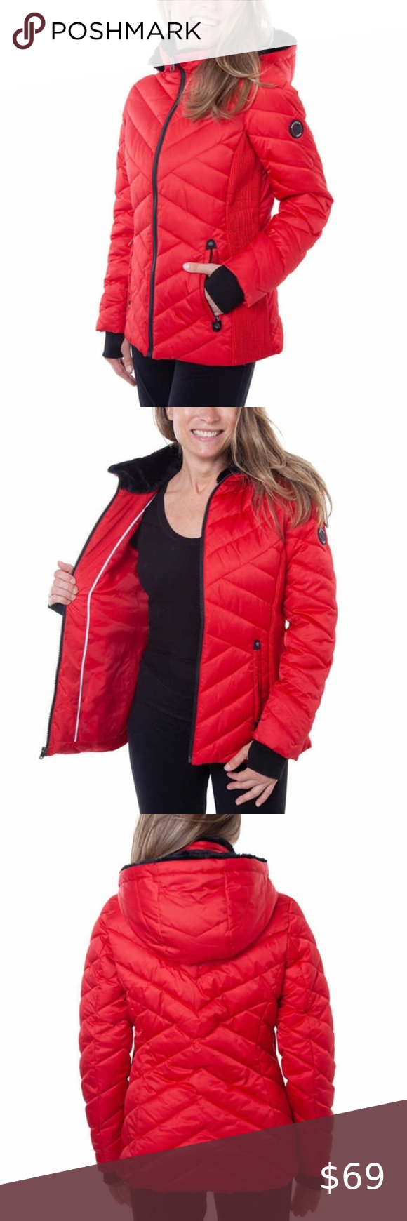 Nautica Ladies Puffer Jacket Color Red Puffer Jacket Women Women S Puffer Coats Jackets Women [ 1740 x 580 Pixel ]