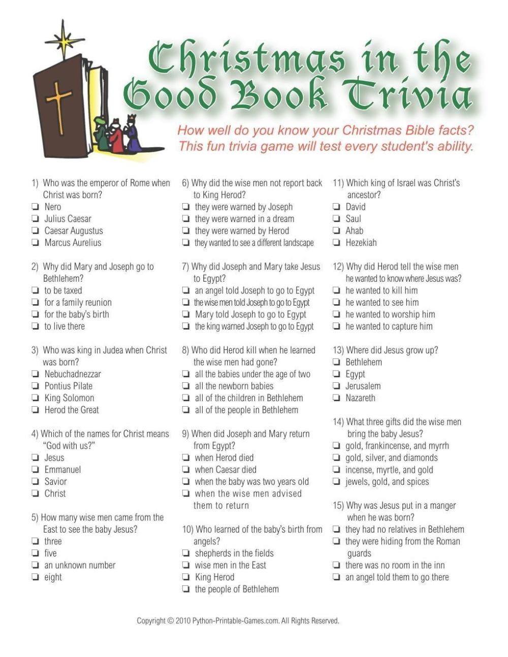 Christmas Trivia Quiz For Schools 2020 Christmas: Christmas Bible Trivia Game in 2020   Christmas trivia