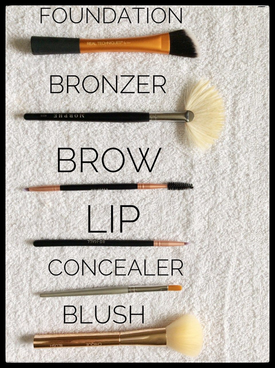 This makeup brush guide shows you different types of