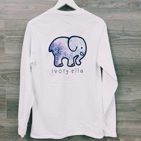 b29b823c3195 White Ivory Ella Elephant Pocket Print Long Sleeve Cute Casual T-Shirt
