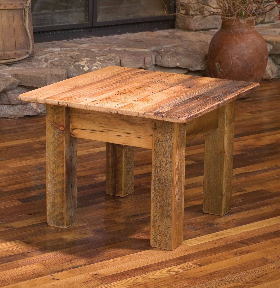 Simple end table using rough 4x4's for legs Barnwood