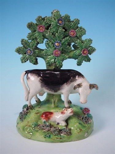 Walton Staffordshire cow & calf bocage figure