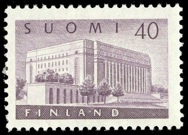 Postage stamp depicting the Parliament House of Finland in Helsinki. 1956.