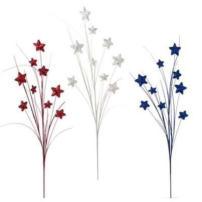 RAZ Star Spray Set of 3  Red, White, Blue Set includes one of each color Made of Styrofoam Measures 30  ARRIVING JANUARY 2012