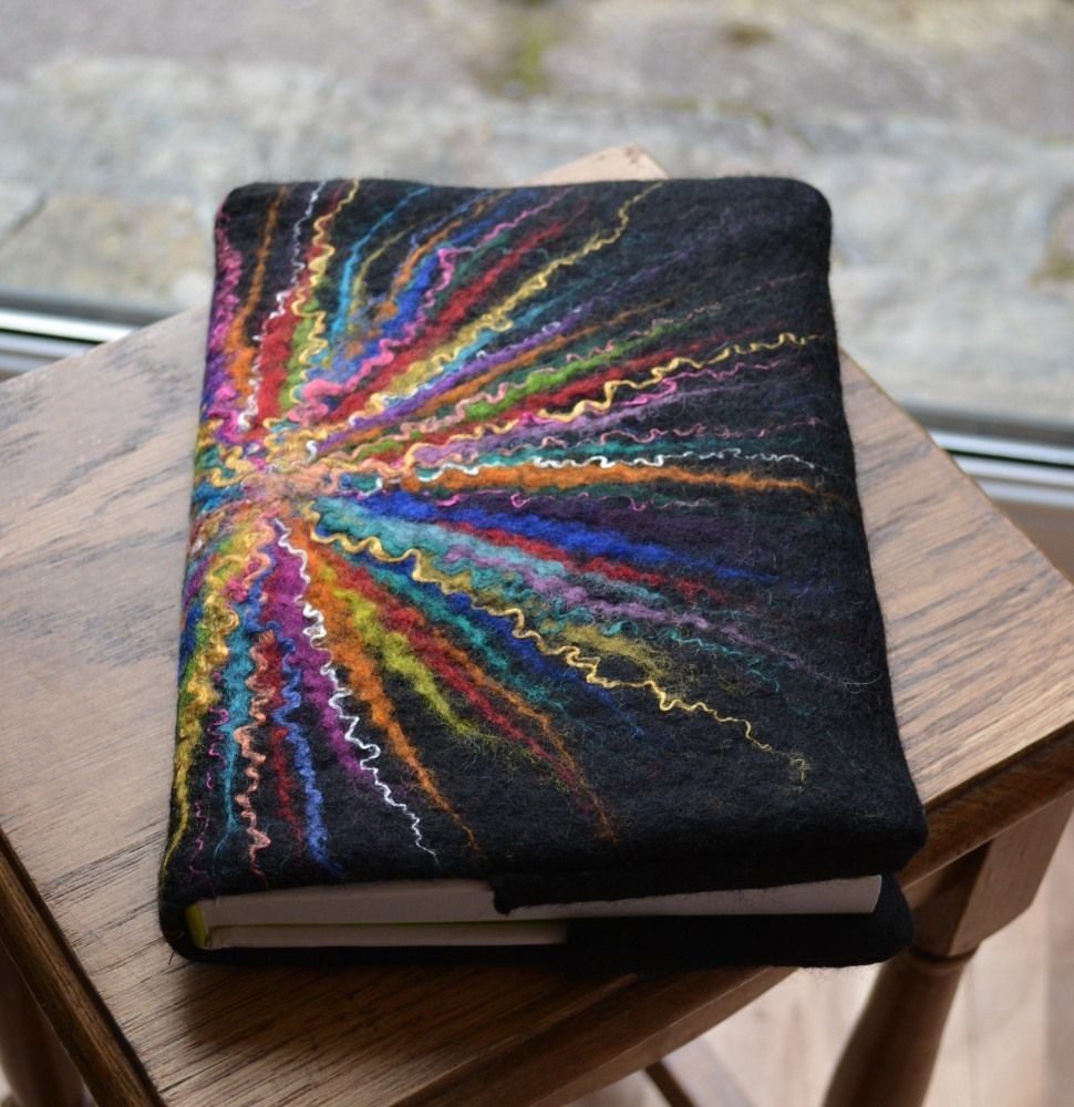 Felt Book Cover Pattern ~ Simple off center starburst on this felted journal cover