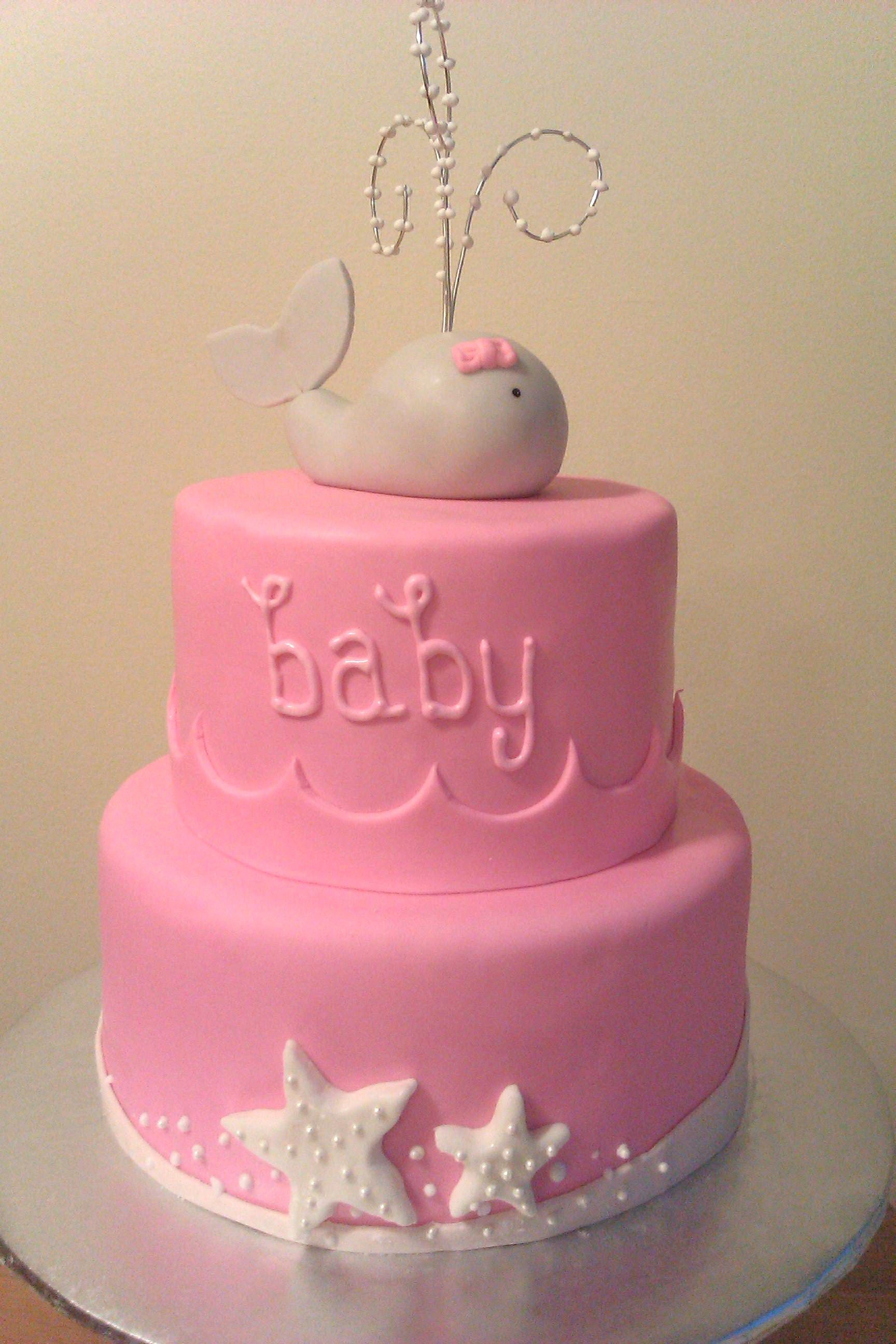 whale baby girl baby shower cake take off baby and could be a cute
