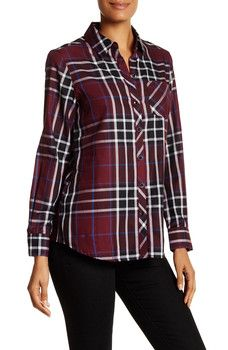 FOXCROFT - Herringbone Plaid Long Sleeve Shirt