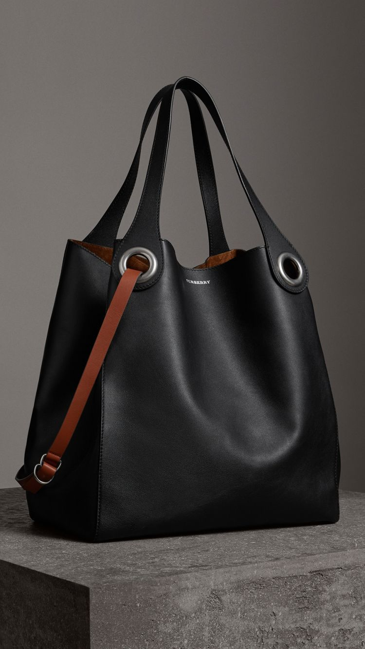 2647d4f7d5a9 The Large Leather Grommet Detail Tote in Black