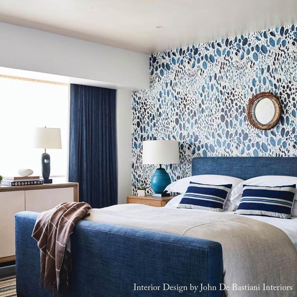 Blooms Wallpaper In Navy In 2021 Bedroom Wallpaper Accent Wall Master Bedroom Wallpaper Wallpaper Living Room Bedroom wallpaper ideas navy