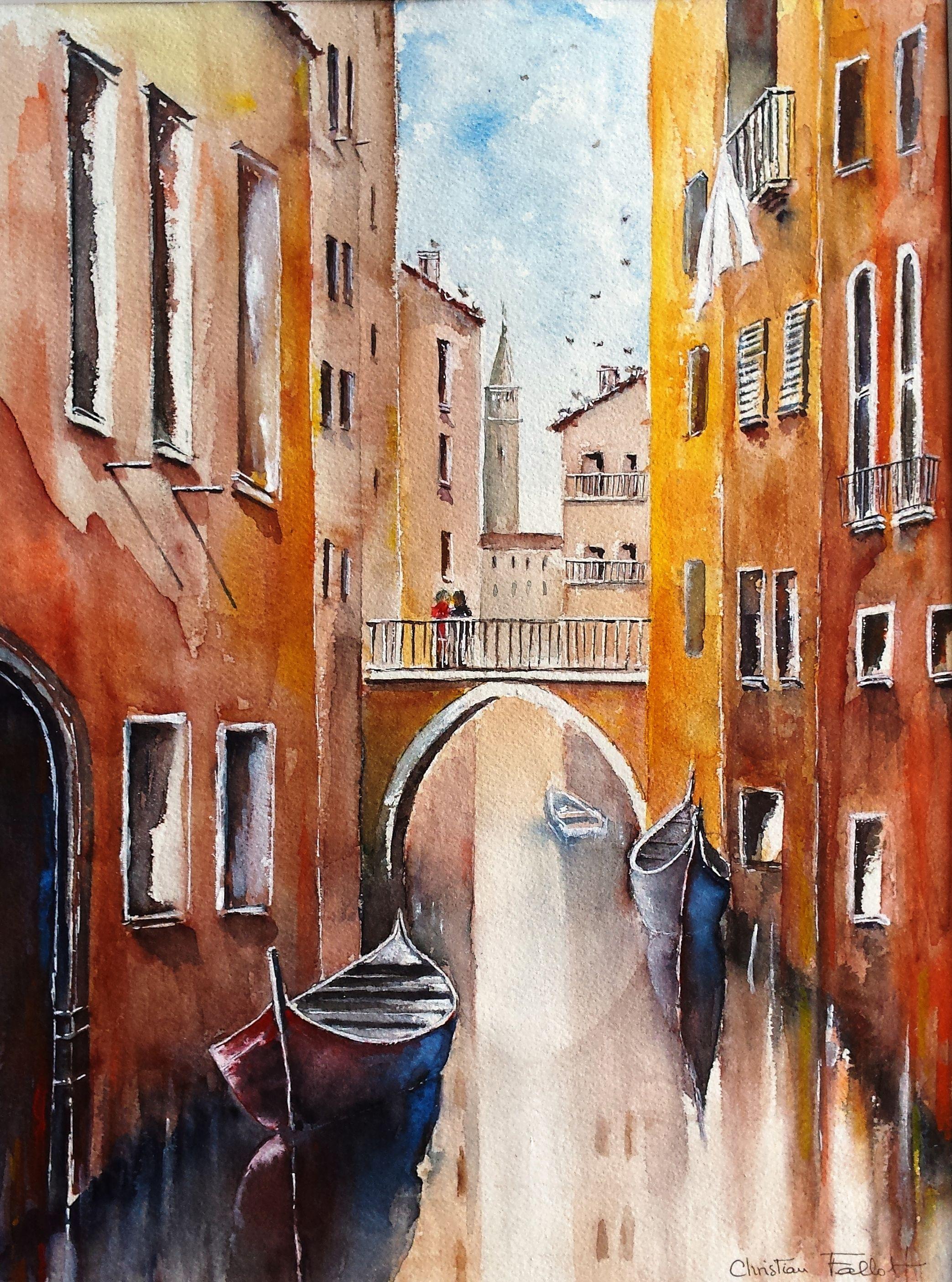 Christian Fallot Aquarelle Venise Gondoles Aquarelle Peinture