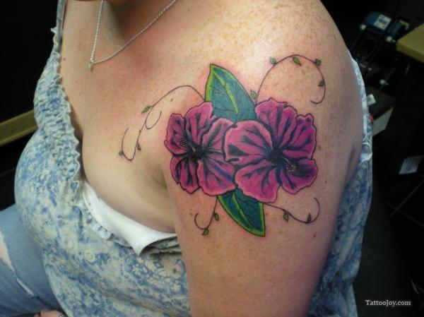 Purple Hibiscus Tattoo Hibiscus Tattoo Shoulder Tattoo Hibiscus Flower Tattoos