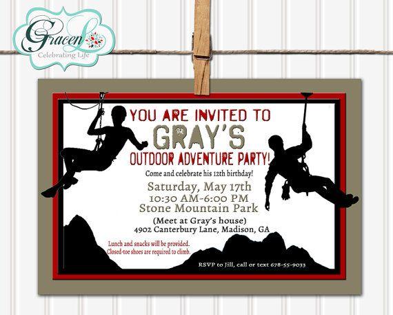 Rock Climbing Party Invitation Adventure Birthday Zipline Hiking