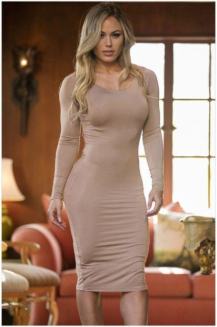 de9dd06262 Sexy manga larga y espalda abierta vestido ajustado del vestido ocasional  del…