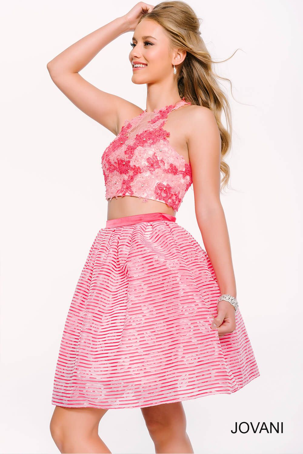 Whatus better than this jovani two piece floral dress
