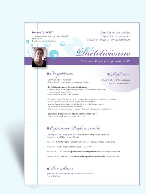 cv dieteticienne competences