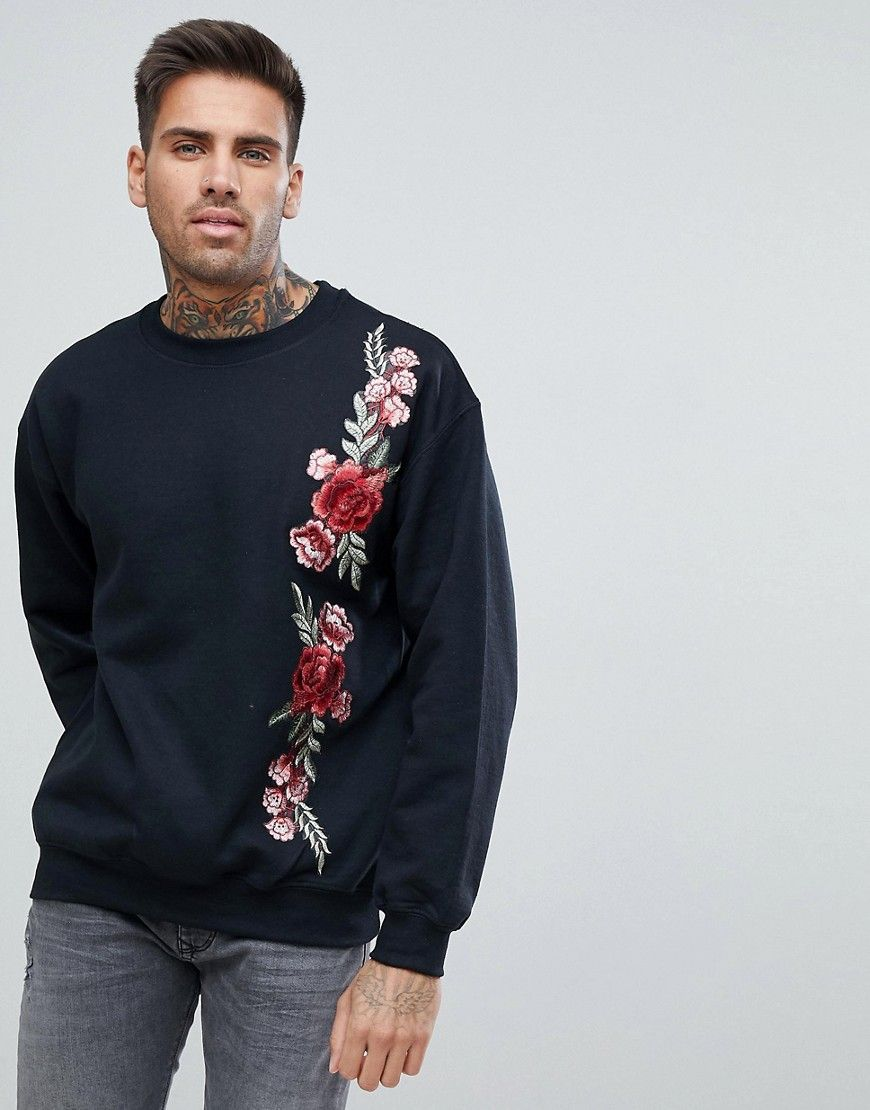 946e2d711c boohooMAN Floral Embroidered Sweater In Black in 2019 | Closet ...