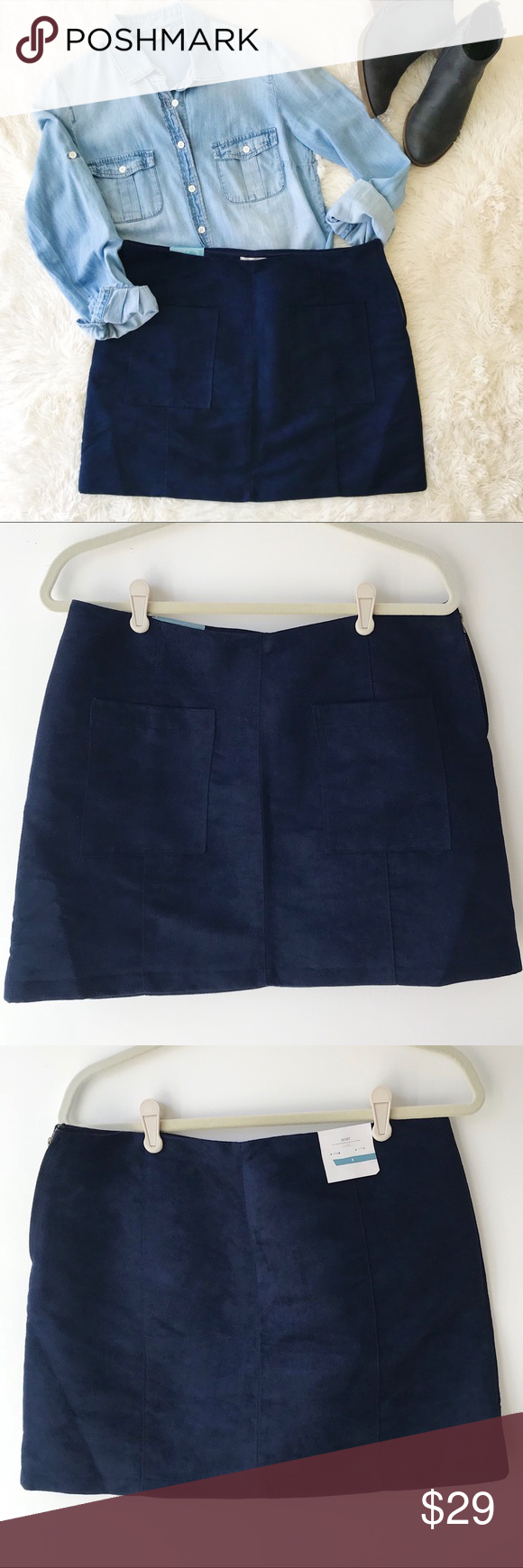1658bbf37d5 Old Navy fuax suede mini skirt navy blue NWT Old Navy faux suede mini skirt  navy blue Size 8 Front patch pockets Side zip Fully lined Measurements ...