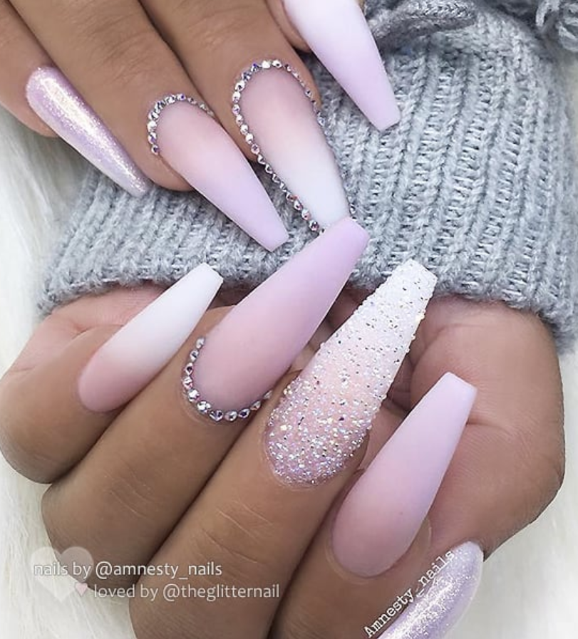 50 Pretty French Pink Ombre And Glitter On Long Acrylic Coffin Nails Design Page 49 Of 53 Latest Fashion Trends For Woman In 2020 Matte White Nails White Acrylic Nails Pink Ombre Nails