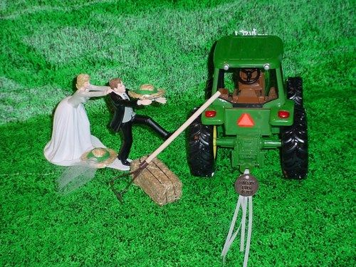 John Deere Fun Tractor Wedding CakeTopper Running to the Altar ...