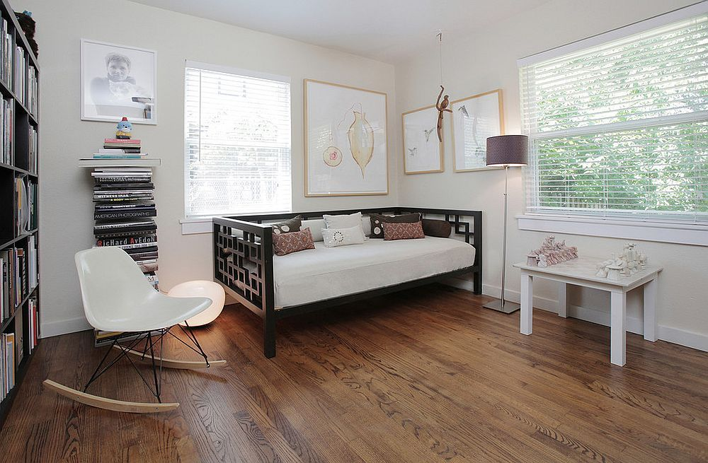 transitional home office with daybed in the corner small on smart corner home office ideas id=20806