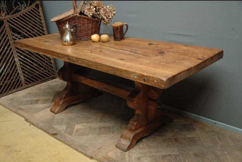 Antique French Country Monastery Trestle Table Made With 18th