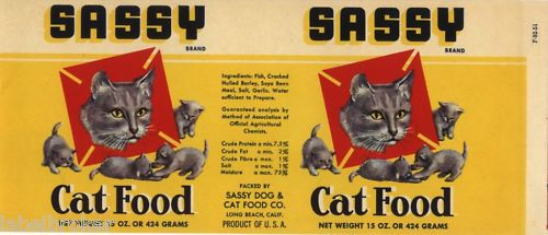 Vintage Can Label RARE Cat Food Long Beach 1950s Sassy