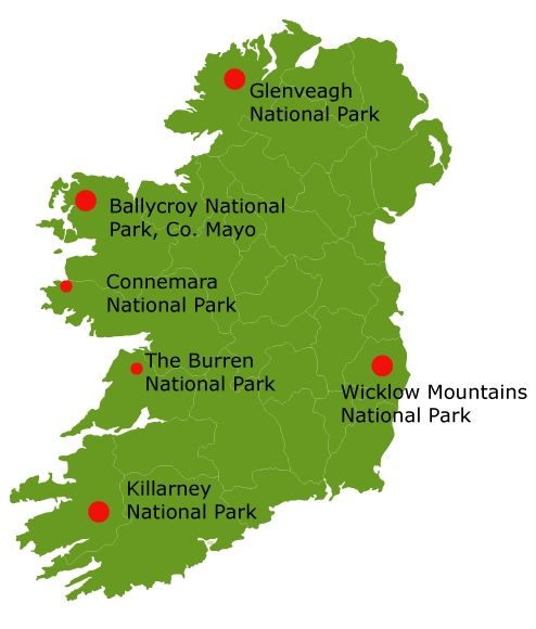 Map Indicating Six National Parks In Ireland Check Out The