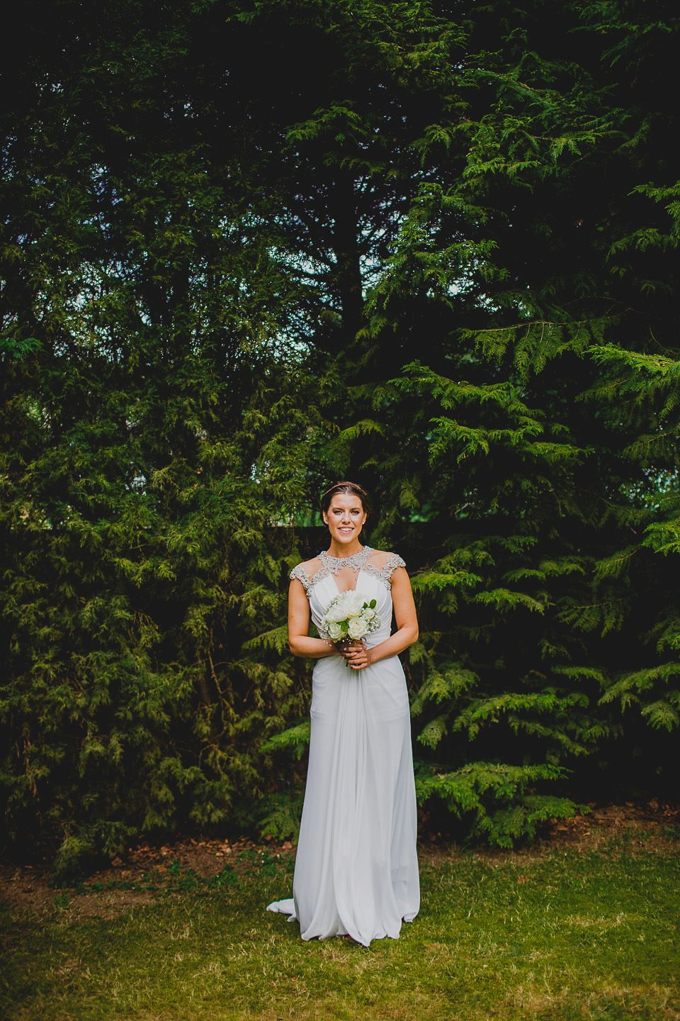 A grecian style dress for a glamorous english country house wedding