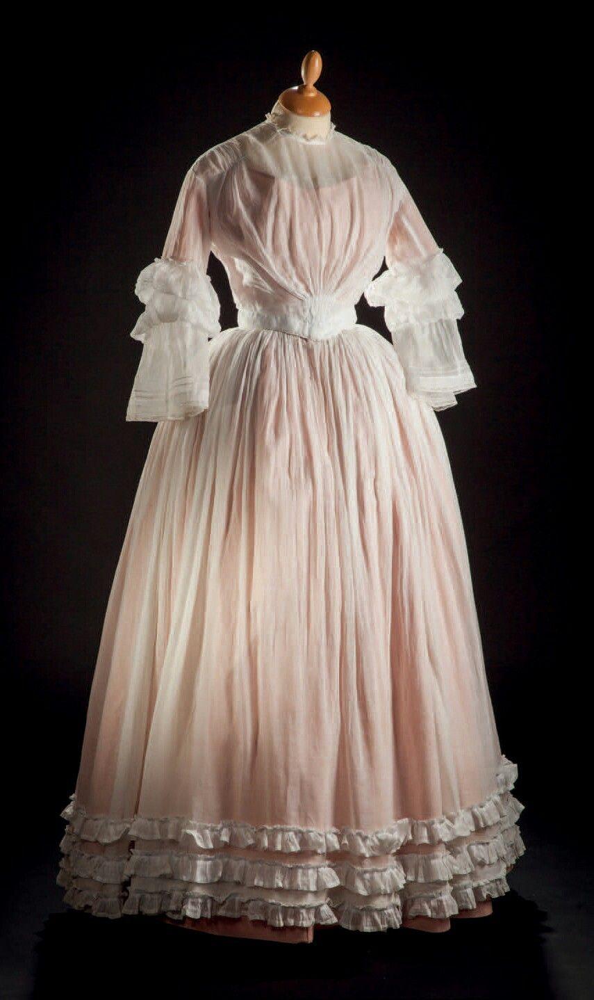 Summer Dress Ca 1845 Drouot Historical Dresses Edwardian Fashion Vintage Dresses [ 1438 x 855 Pixel ]