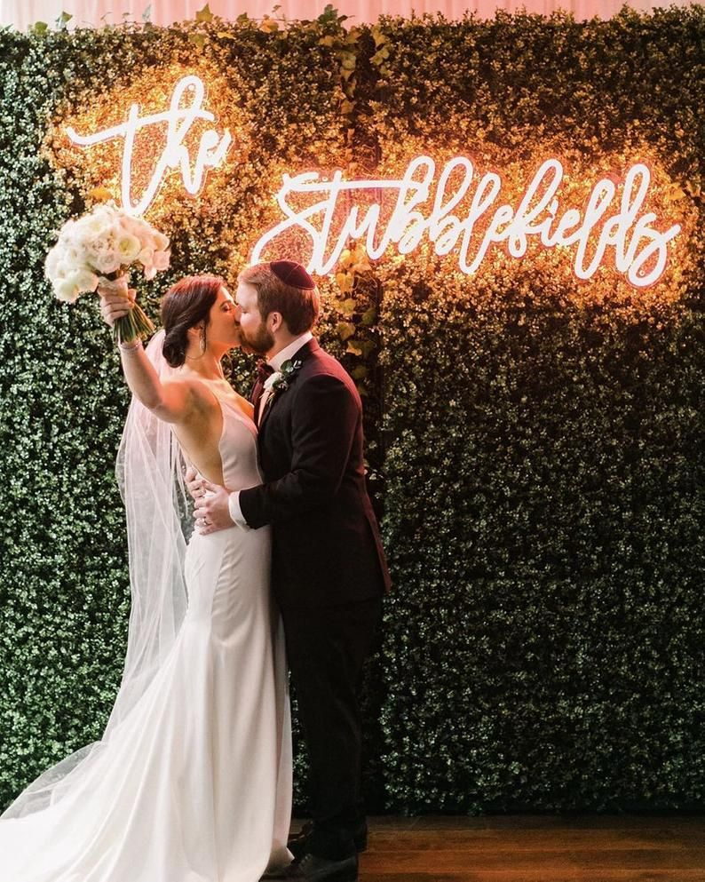 Wedding neon sign for reception, personalised gift