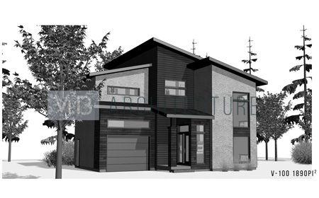 Plan d\u0027architecture de maison neuve cottage contemporain V-100 Vib