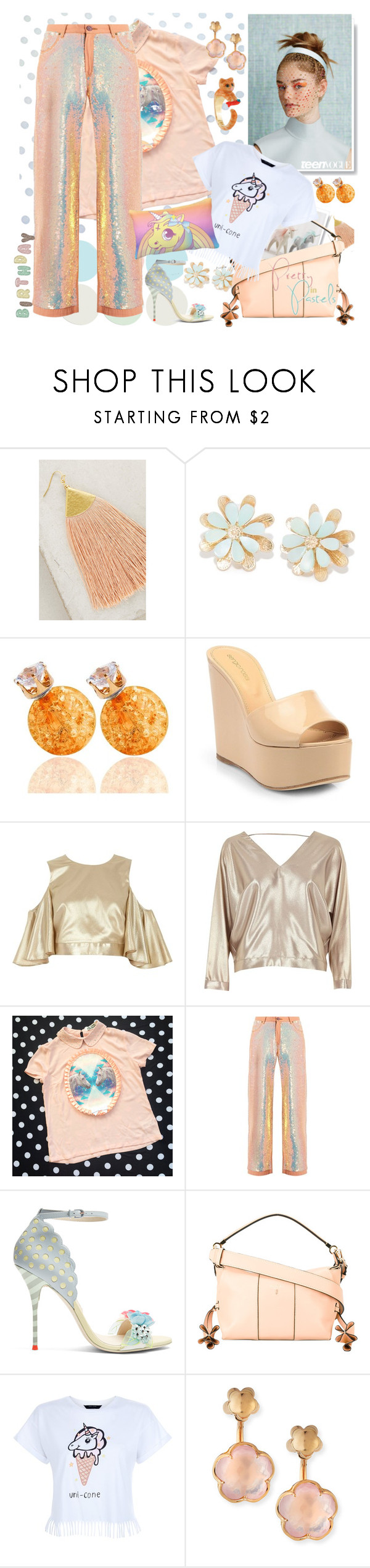 """Dress to Impress: Unicorn Birthday Date"" by yours-styling-best-friend ❤ liked on Polyvore featuring NAKAMOL, Sergio Rossi, River Island, Ashish, Sophia Webster, Serapian, New Look, Pasquale Bruni and Kate Spade"