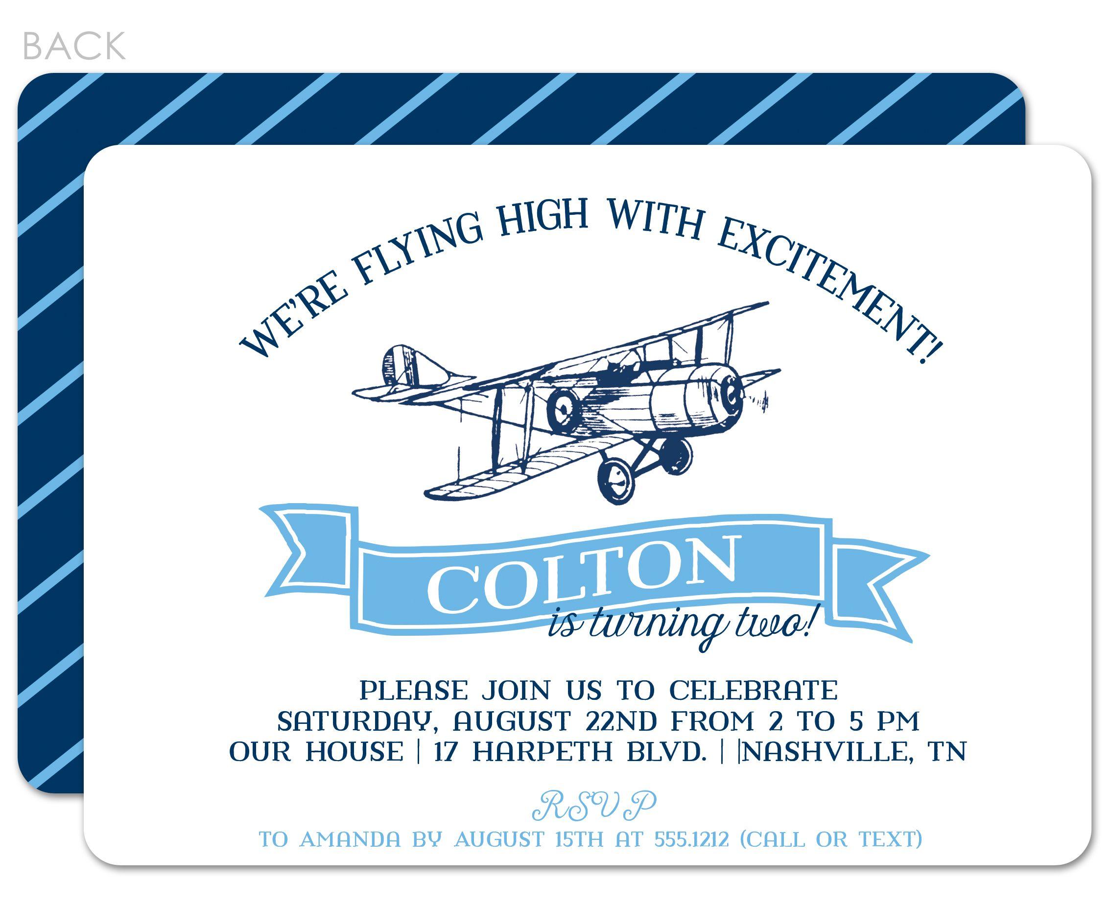 vintage airplane birthday invitation Swanky Press