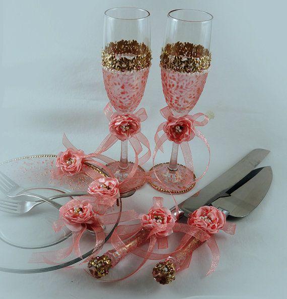 Gold Wedding Cake Server Set Knife Servers Cutter Gatsby Style