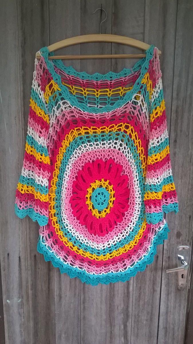 BLUSA MANDALA COM MANGAS LONGAS   a a   Pinterest   Crochet, Knit ...