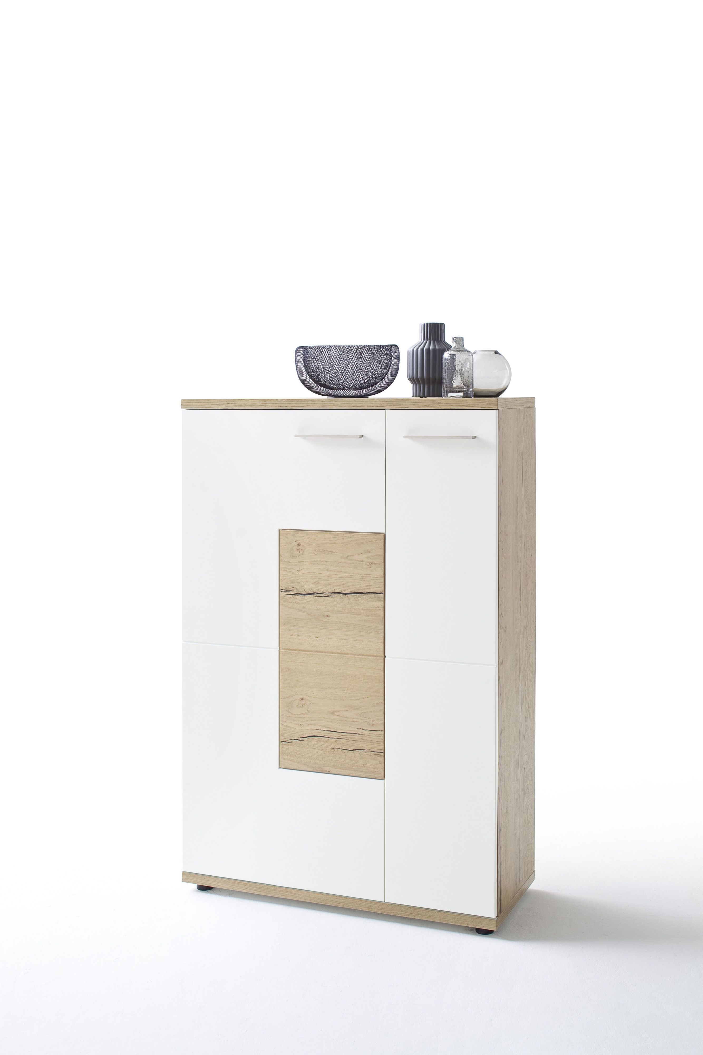 highboard weiss matt crackeiche woody 41 02582 holz modern jetzt bestellen unter https. Black Bedroom Furniture Sets. Home Design Ideas