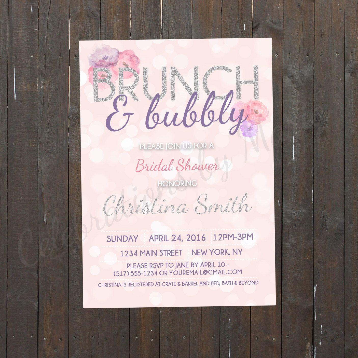 Bokeh Flowers Wedding: Brunch & Bubbly Bridal Shower Invite, Bokeh Background