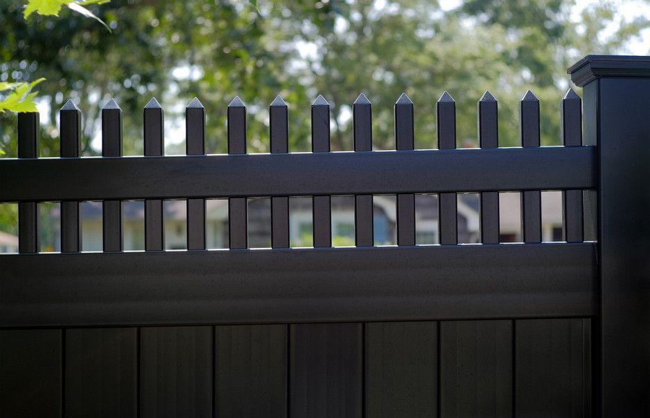 713 Black Vinyl Fence With Vertical Lattice Wood Vinyl Vinyl