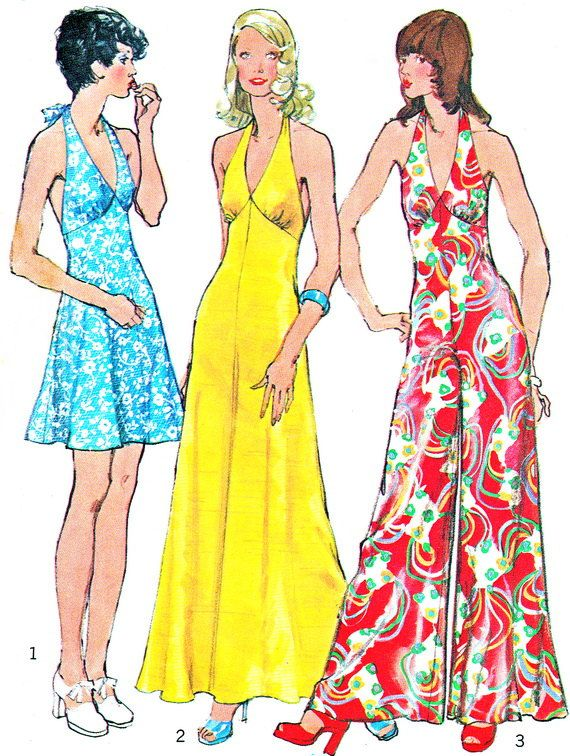 1970s Halter Neck Womens Wide Leg Jumpsuit Maxi Dress Mini Dress ...