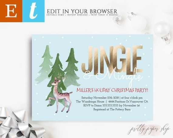 Christmas Party Invitation Template, Holiday Winter Christmas Party